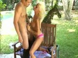 Beauty blonde fucked in the garden