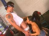 Mechanic Alexis Amore & customer in a group sex