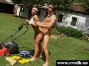 Gardener nails a gardening girl