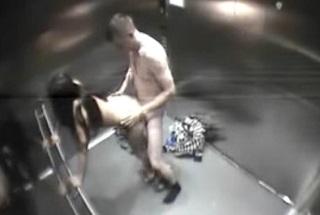 Hidden camera captures fucking in the elevator
