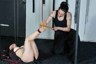 Submissive Asian beaten up all tied up - BDSM, fetish