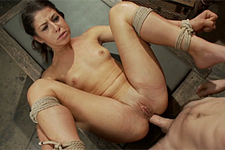 Anal moment with tied up submissive brunette!