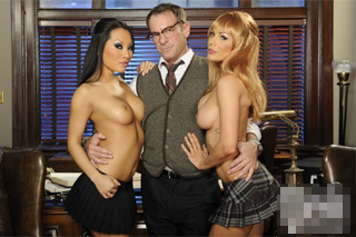 Asa Akira and Kirsten Price: Old lawyer fucking two young paralegals!
