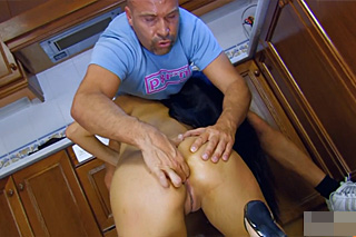 Asian housewife Sharon Lee fucks with a cook
