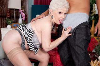 Granny Jewel sexually schooling a young neighbor!