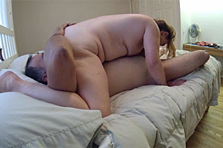 Chubby hairy amateur fucking her husband in the bed