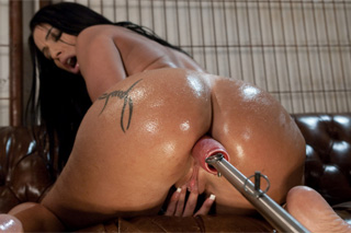 Brazilian Latina Monica Santhiago and a masturbatory machine
