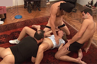 Granny enjoying an orgy with three lovers - gangbang