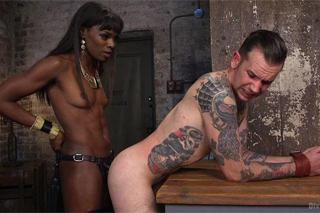 Black dominatrix Ana Foxxx fucking her anal slave - BDSM porn