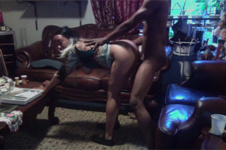 Black couple fucking in a living room!