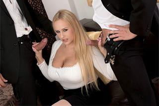 Czech art dealer Angel Wicky pleases two dicks in a business meeting!
