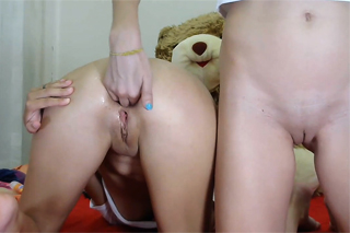 Young lesbian fists girlfriend's ass!