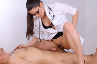 Dominant doctor Meana Wolf taking care of her patient's cock