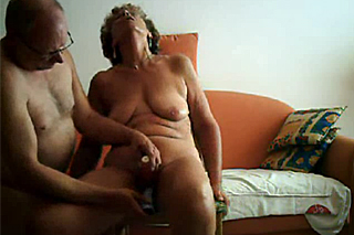 Retiree teasing his wife's cunt on home camera