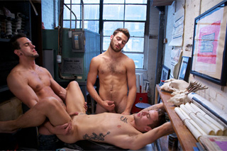 Two students of art schools and male model - gay porn