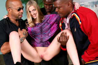 Gang bang on vacation, or a Czech tourist Abigail Johnson and three black cocks!