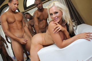 Revenge gangbang, or cheated wife Alena Croft and group of blacks!