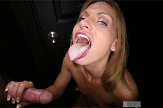 Gloryhole or chick Madison tastes anonymous penis!