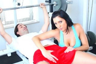 Handjob in home gym, or mature wife Dylan Ryder jerks off husband's cock!