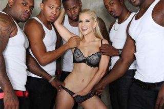 Interracial, an cheating blonde Ashley Fires and five black cocks!