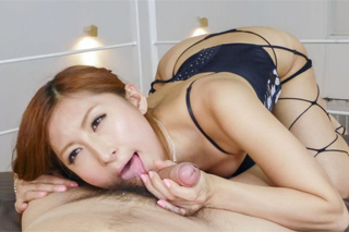 Japanese lady Reira Aisaki sucks  husband with a friend!