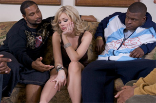 Four black cocks for one white busty Katie Kox