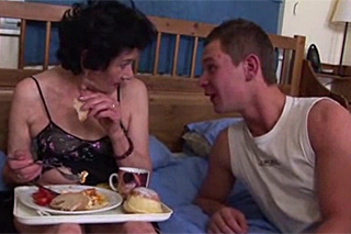Youngster fucks his grandmother after breakfast - Family Porn