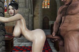 Busty princess fucks in a church - Hentai porn