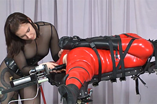 Lesbian dominatrix and bound slave girl in red latex - BDSM porn