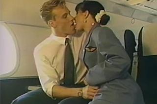 Flight attendants Madison Stone fucks a pilot on air - retro porn