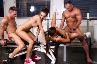 Little Caprice and Marcello Bravo: Czech foursome in gym!