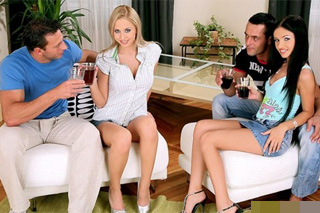 Mandy Dee and Sasha Rose: Swingers party of two young couples with anal spice!