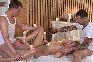 Masseurs Steve and Martin are fucking a blonde Angel  Czech porn