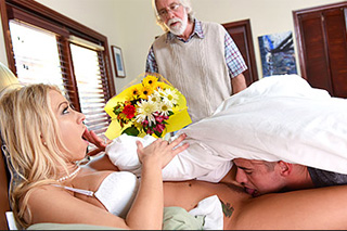 Young man licks stepmom Katie Morgan in the presence of his father!