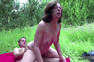 Young man seduces grandmother on a meadow - Czech porn