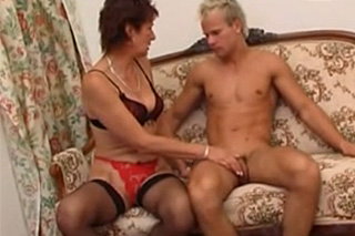 Young blonde handsome guy secretly fucking his mother-in-law - Czech family porn