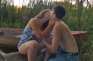 Young couple fucking during a date by a water!
