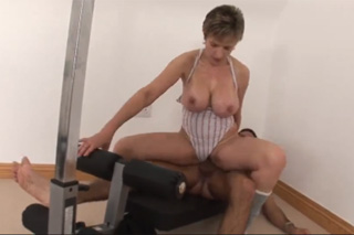 Horny mature fucks you in the gym!