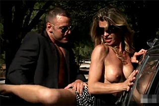Horny lady is fucking with driver in the nature