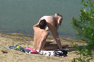 Horny couple by a lake!