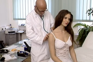 A german brunette spreads legs for a doctor