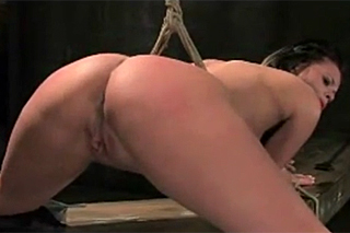 Horny brunette gives herself to an uncompromising rough guy - BDSM porn