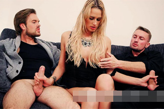 Cheating nymphomaniac Chelsey Lanette in a threesome with her colleagues