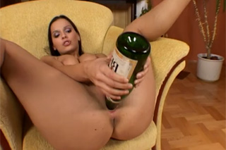 Masturbation on New Year or champagne bottle in the pussy