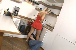 Handyman fucked a blonde housewife in the kitchen