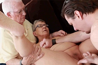 Couple retired fucking with a young man