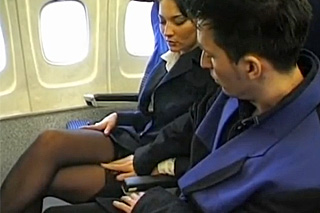Passenger fucking the ass of a cute stewardess on the board on the plane