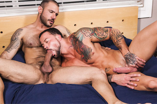 Pedro Andreas and Sean Duran in bed action - gay porn