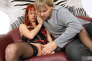 Popular Czech stallion fucks hot redhead in corset!