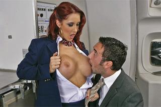 Stewardess has nice sex on a plane
